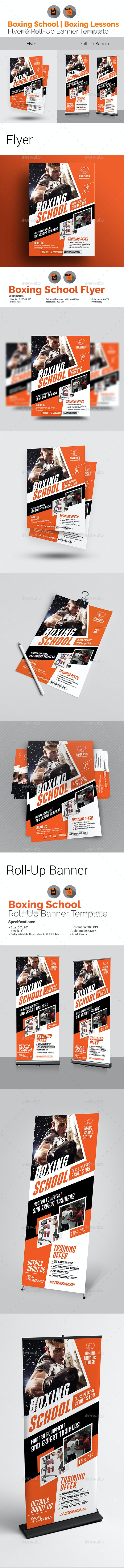 Boxing School Flyer with Rollup Bundle - Sports Events