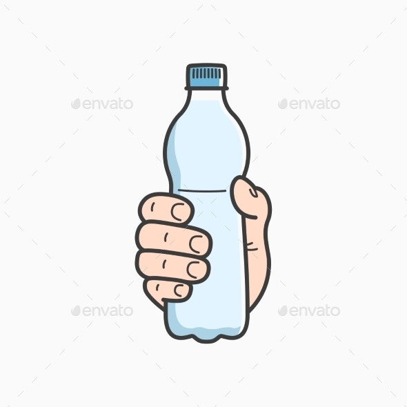 Hand Holds Water Bottle - Food Objects