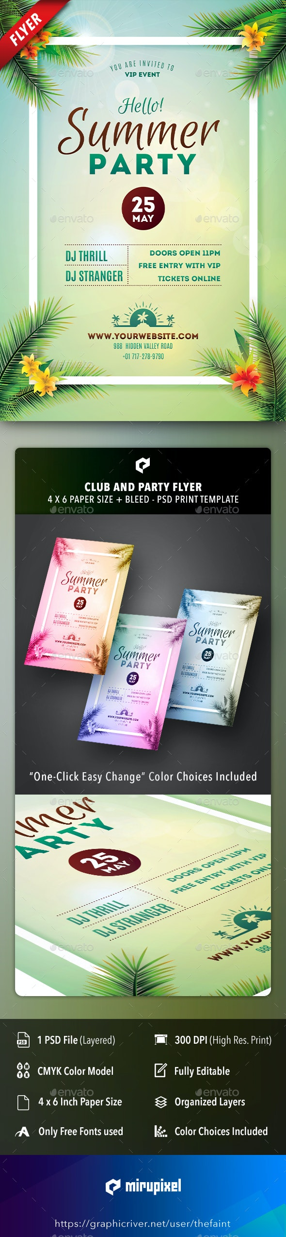 Hello Summer Club and Party Flyer - Clubs & Parties Events