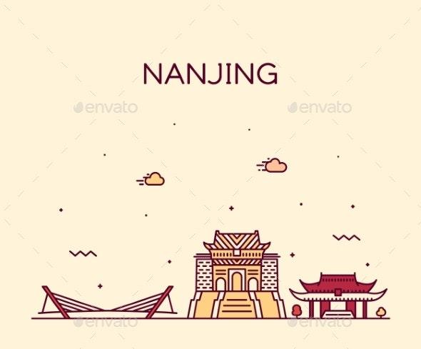 Nanjing Skyline Jiangsu China Vector City Linear - Buildings Objects