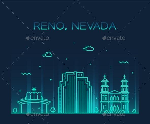 Reno Skyline Nevada USA Vector City Linear Style - Buildings Objects