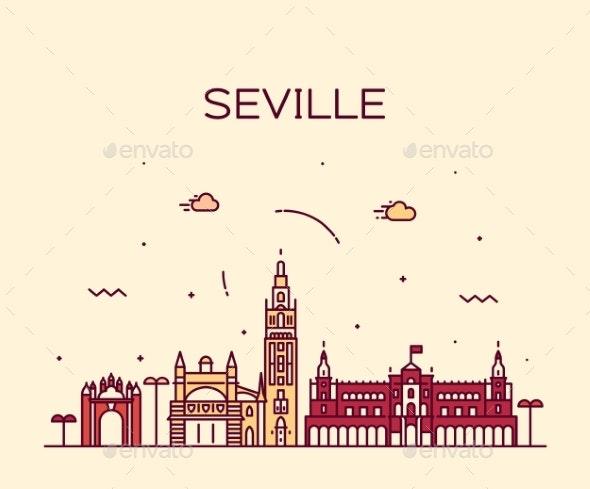 Seville Skyline Spain Vector Linear Style City - Buildings Objects