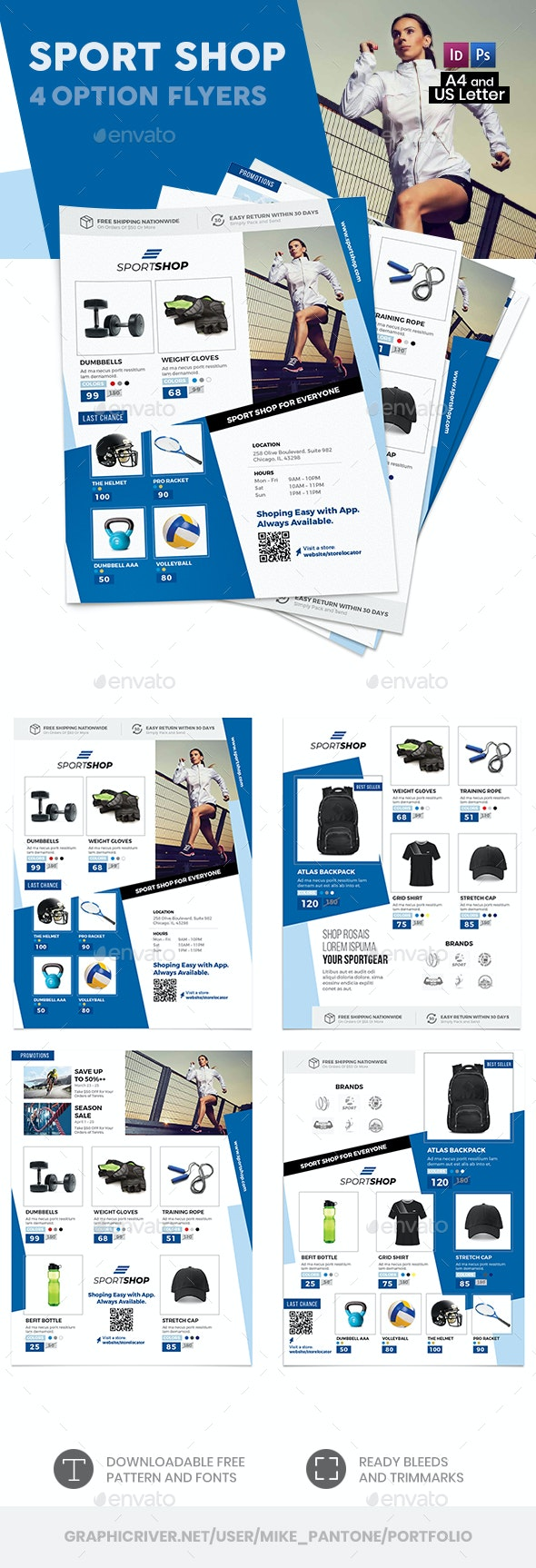 Sport Shop Flyers 2 – 4 Options - Commerce Flyers