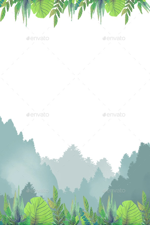 Forest Plants Green Theme Border Spring - Illustrations Graphics