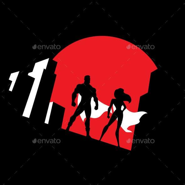 Superhero Couple Background Symbol