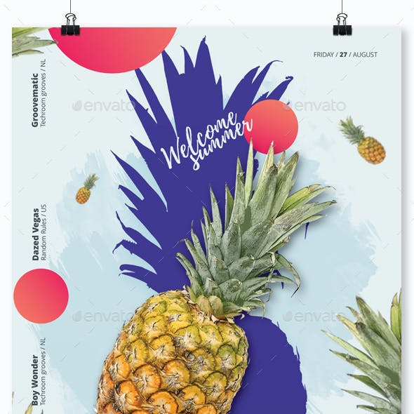 Welcome Summer - House Music Party Flyer / Poster Template A3