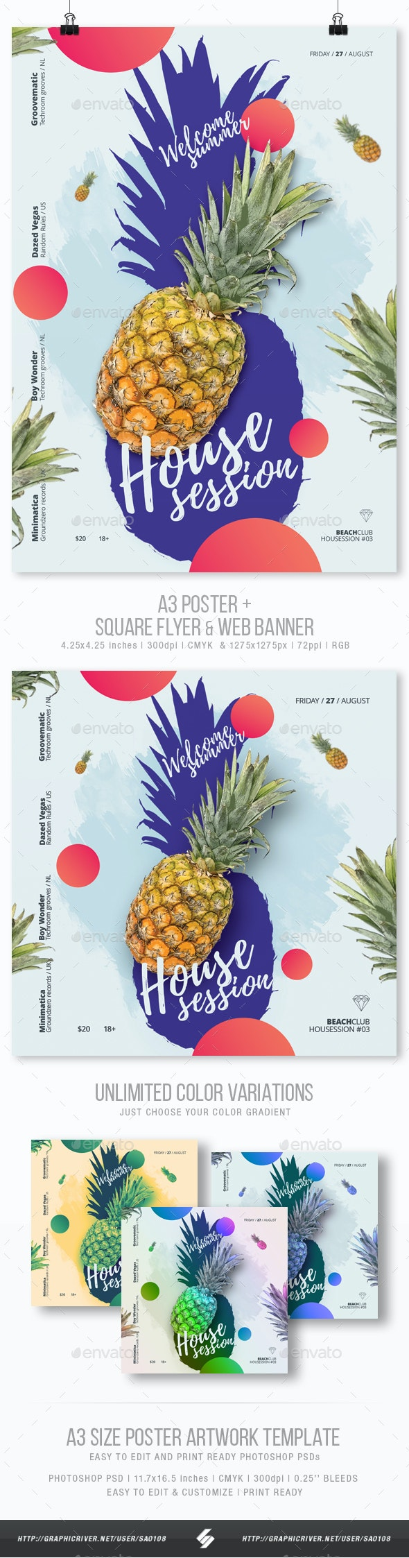 Welcome Summer - House Music Party Flyer / Poster Template A3 - Clubs & Parties Events