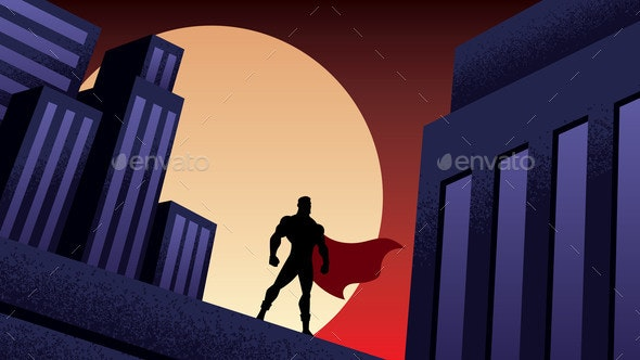 Superhero City Night - Buildings Objects