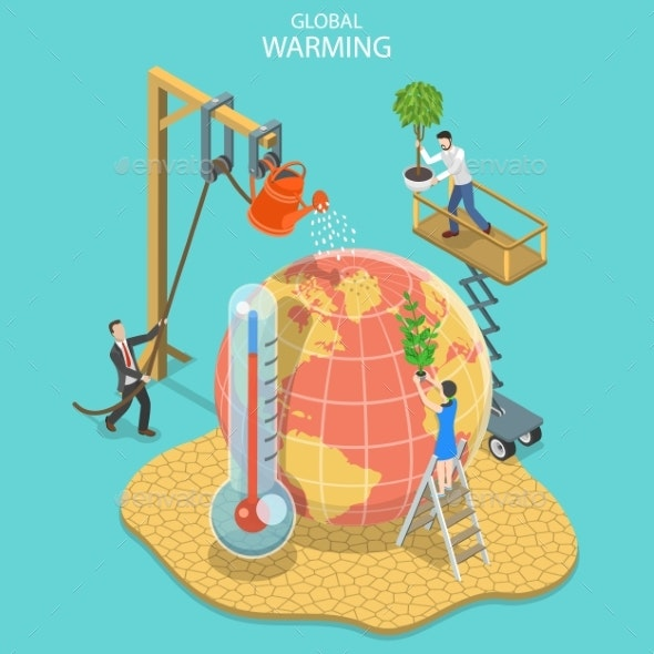 Isometric Flat Vector Concept of Global Warming - Flowers & Plants Nature