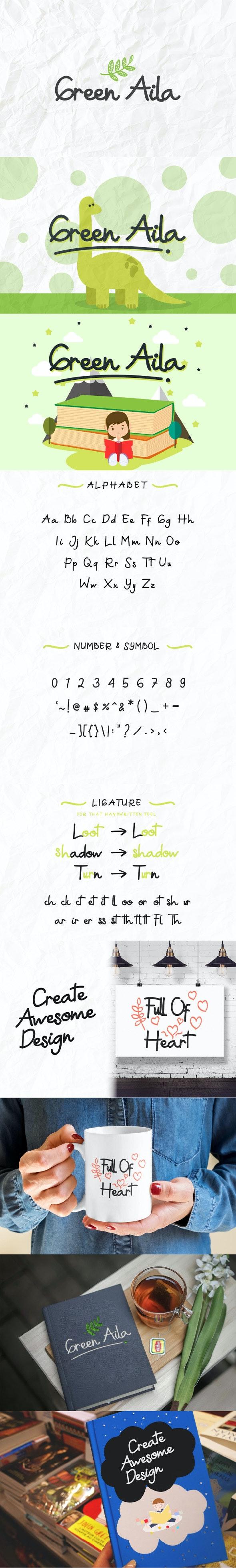 Green Aila Cute Comic Handwriting - Comic Decorative