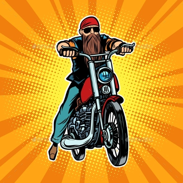 Biker Bearded Man on a Motorcycle - Miscellaneous Vectors