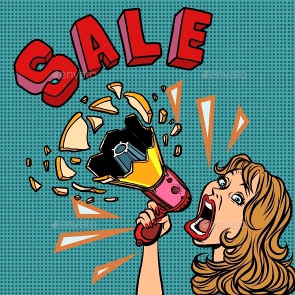 Sale Woman with Megaphone Advertising Announcement - Miscellaneous Vectors
