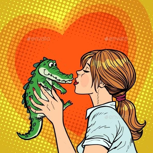 Mom Kisses Crocodile - Animals Characters