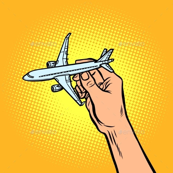 Passenger Plane in Hand - Man-made Objects Objects