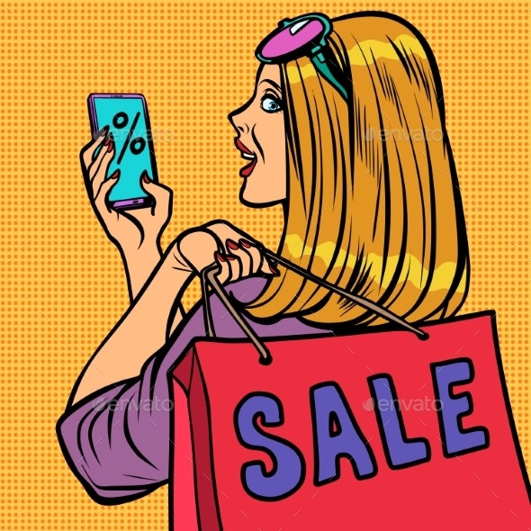 Woman Buyer Online Shopping Sale - People Characters