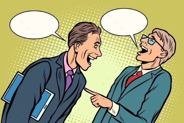 Two Businessmen Meeting Laughing - People Characters