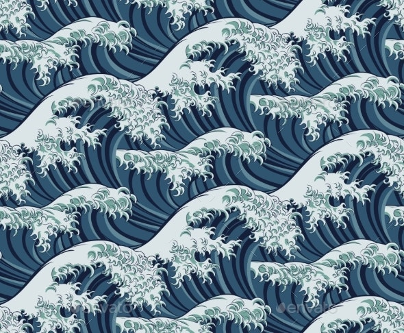 Japanese Great Wave Seamless Pattern Background - Backgrounds Decorative