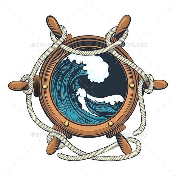 Wessel Steering Wheel  with Ocean Wave Inside - Tattoos Vectors