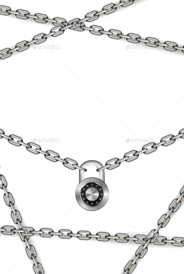 Glossy Silver Metal Chains with Round Code Padlock - Industries Business
