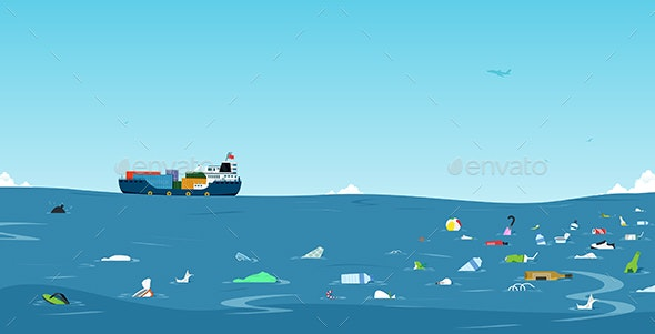 Garbage in the Sea - Travel Conceptual