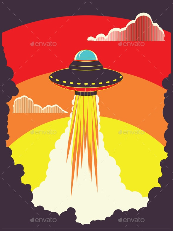 Retro UFO - Backgrounds Decorative