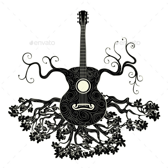 Retro Guitar Tree - Man-made Objects Objects