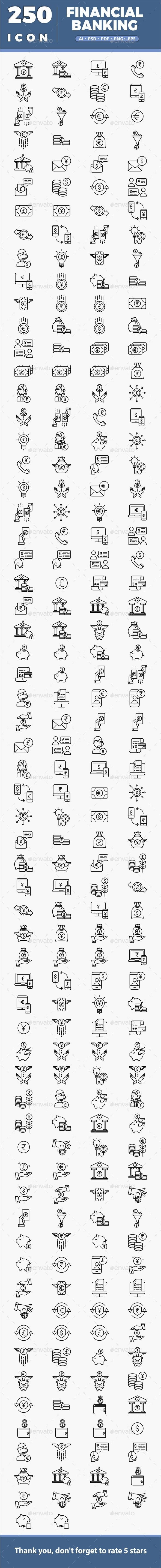 250 Financial Banking - Icons