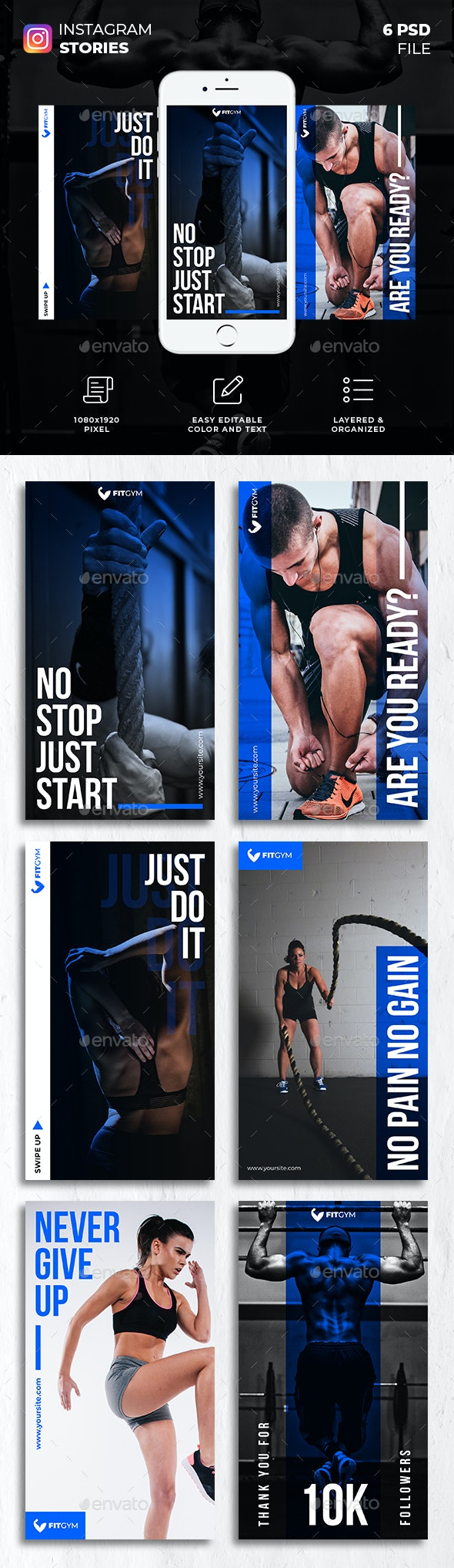 Fitness Gym Instagram Stories - Social Media Web Elements