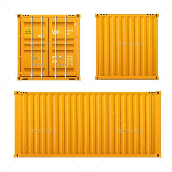 Realistic Cargo Container Set - Miscellaneous Vectors