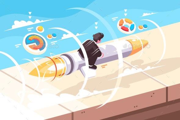 Businessman Flying on Rocket - Concepts Business