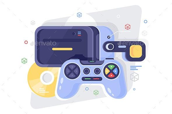 Flat Gamepad for Game, Disk and VR Helmet - Media Technology