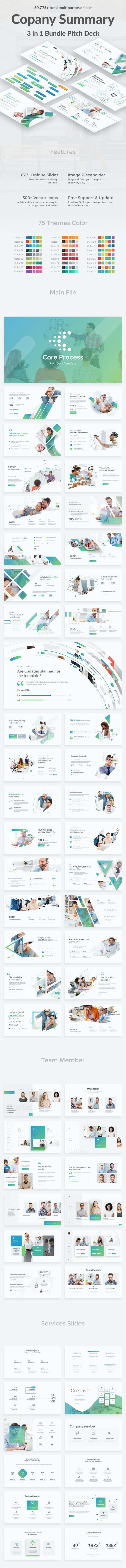 Company Summary 3 in 1 Pitch Deck Bundle Powerpoint Template - Business PowerPoint Templates