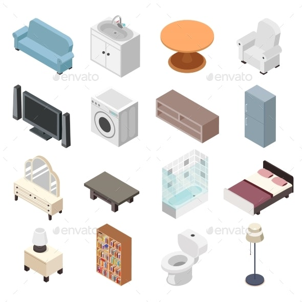 Bathroom Isometric Furniture Set Toilet Sink - Man-made Objects Objects