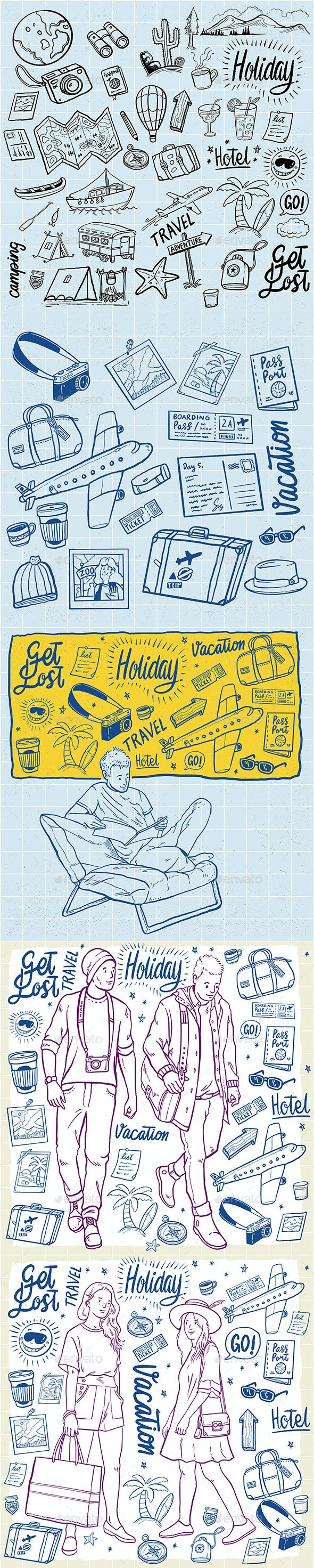 Hand Drawn Travel Holidays Elements Set - Travel Conceptual