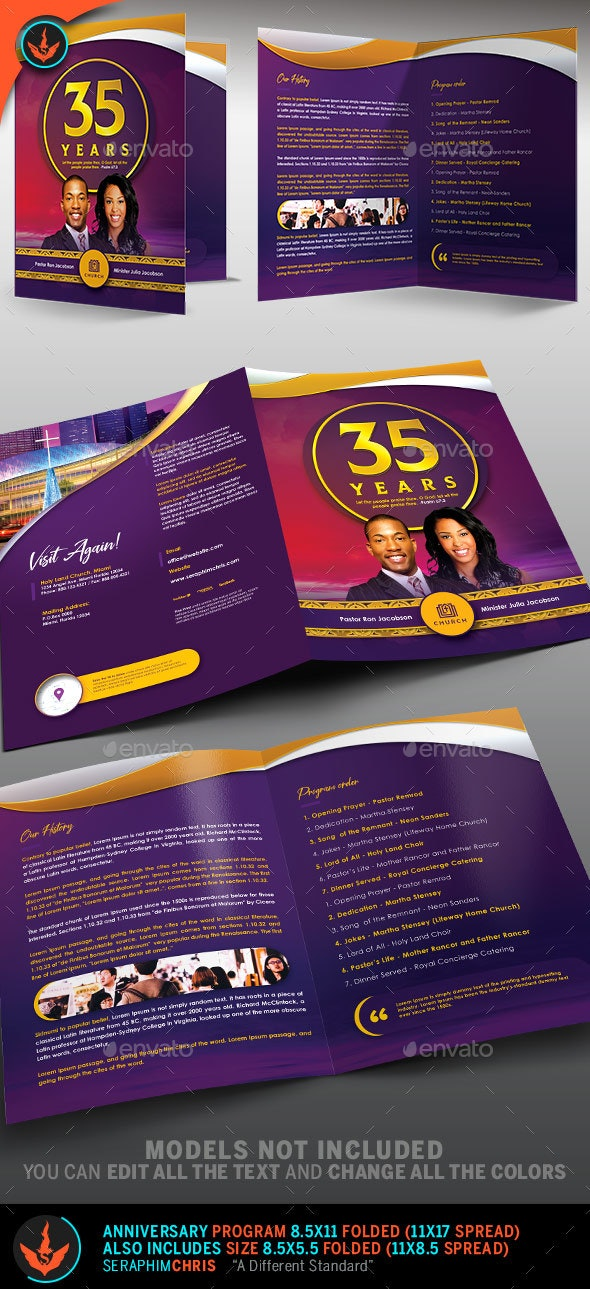 Royal Gold Lavender and White Church Anniversary Program - Informational Brochures