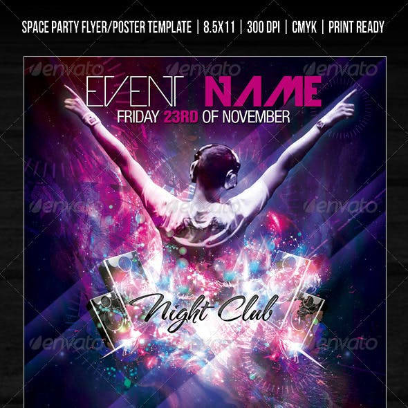 Night Club Space Party Flyer/Poster Template V2