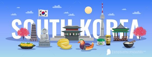 South Korea Doodle Composition - Miscellaneous Vectors