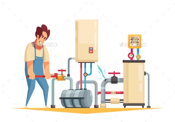 Plumber Cartoon Composition - Services Commercial / Shopping