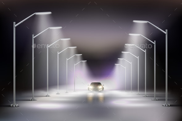 Street Lights Realistic in Fog Composition - Miscellaneous Vectors