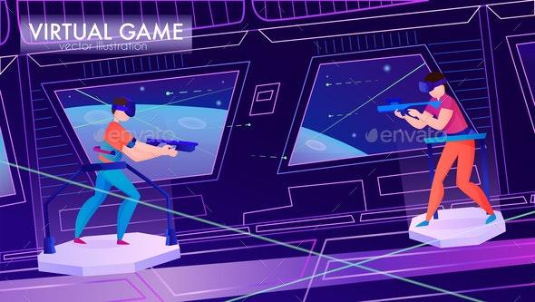 Virtual Reality Horizontal Illustration - Computers Technology