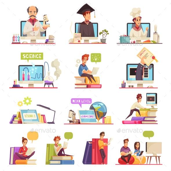 Online Courses Cartoon Set - Web Technology