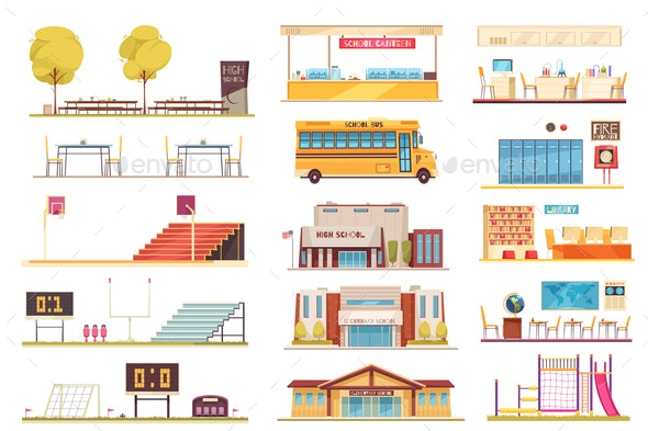 School Facilities Flat Set - Buildings Objects
