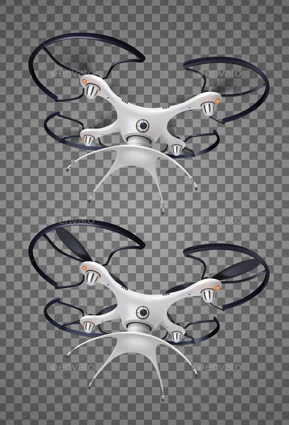 Drone With Camera Realistic Transparent Icon Set - Man-made Objects Objects