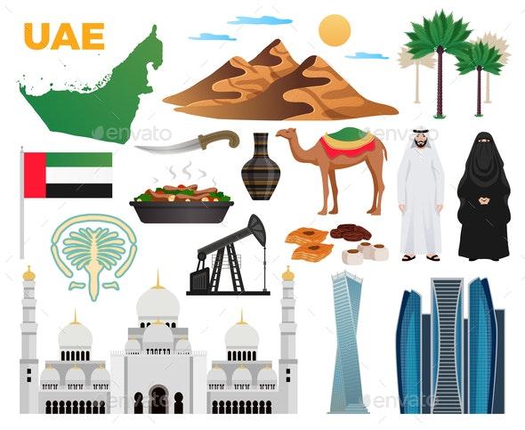 UAE Travel Icons Set - Travel Conceptual