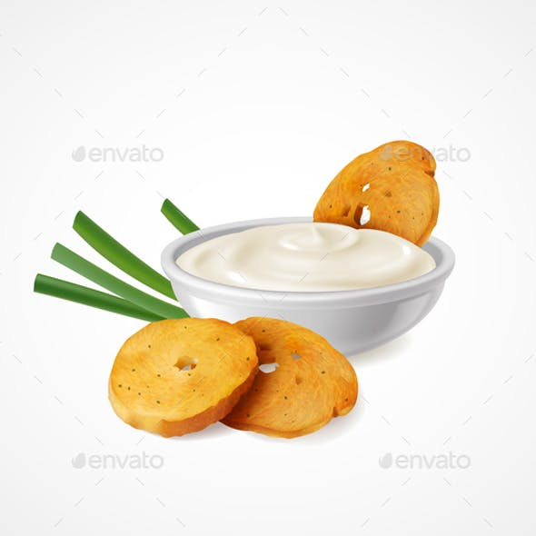 Snacks With Green Onion and Sour Cream