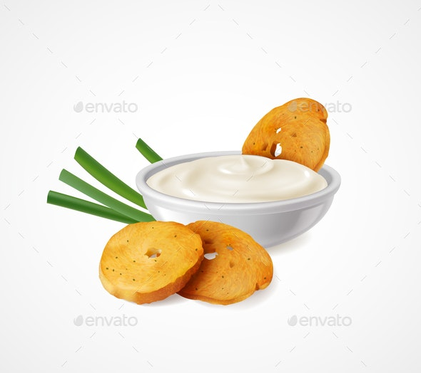 Snacks With Green Onion and Sour Cream - Food Objects