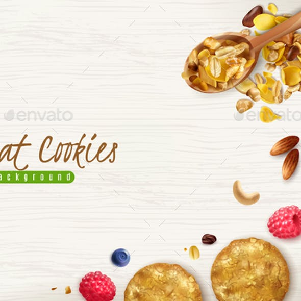 Oat Cookies Realistic Background