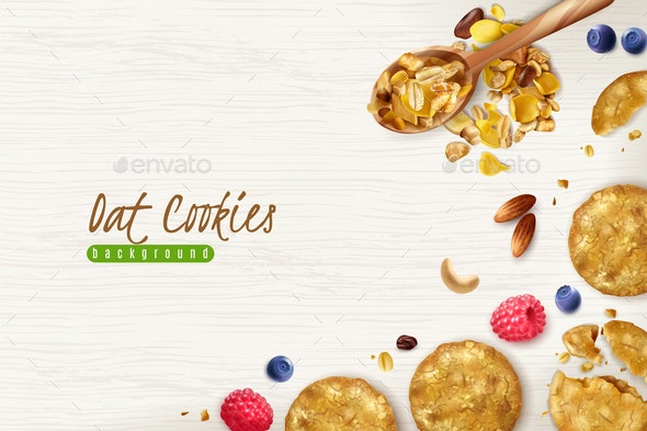 Oat Cookies Realistic Background - Food Objects