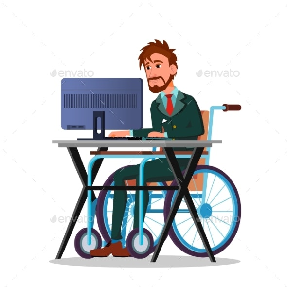 Businessman in a Wheelchair Working - Concepts Business