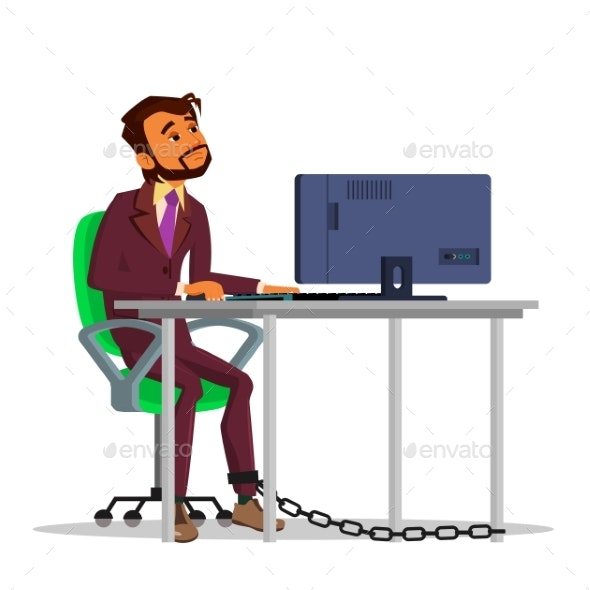 Chained Businessman Working on Laptop - People Characters
